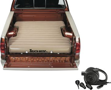 "Camp and Hike Lay down for the best night's sleep you'll ever have in a truck bed or SUV. Unique 8""-thick mattresses are cut to fit directly into your truck bed or SUV. Included 12V air pump plugs into your vehicle's outlet and takes care of the work of inflating the mattress. Dual, high volume, two-stage boat valves for easy inflation and deflation. Puncture-resistant, heavy-duty PVC vinyl. Imported. Available: Full-Size Long Bed (8-ft. bed) Full-Size Short Bed (6.75-ft. bed) Full-Size Short Bed (6.25-ft. bed) Compact Short Bed (6-ft. bed) Tailgate Down - Mid-Size (7-ft. bed) - $99.88"
