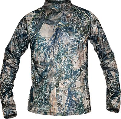 Hunting Made for comfort in cold-weather hunting conditions, it features soft, moisture-wicking 100% polyester construction and a nonrestrictive fit for exceptional in-the-field mobility. MicroSilver Crystal Technology reduces odor-causing bacteria, extends freshness between washes and eliminates static. Nonabrasive flatlock seams. Raglan sleeves and a drop-tail design. Imported.Sizes: M-2XL.Camo patterns: True Timber MC2 , True Timber XD3. - $14.88