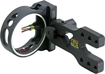 "Hunting The lightweight composite pin guard has an extra-large 2"" inner diameter for a wide circular field of view. The integrated, high-visibility, glow-in-the-dark shooter's ring allows for quick and easy peep alignment in low-light conditions. Bracket can be adjusted for right- and left-handed shooters. Easy-to-see level has two vertical bars. Markings for precise windage and elevation adjustments. All pins are .029"" diameter. Fully assembled. Type: 3-Pin Sights. - $24.88"