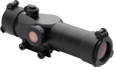Hunting Designed specifically for tactical firearms, this scope features a 30mm tube with an illuminated reticle and remote pressure switch for convenient on and off. Tri-color illuminated reticle provides your choice of red, green or blue to match ambient light conditions, while an adjustable rheostat delivers brightness control. 3-MOA center-dot reticle configuration with the larger circle equaling 20 at 25 yards. Multicoated lenses transmit more than 95% of available light. Detachable sunshade eliminates glare while see-through flip-up lens caps keep the glass free of dirt and moisture. Specially coated interior minimizes stray light reflections. Integrated lanyard system secures windage and elevations caps. Weaver-style base attachment. Includes one 3V-CR2032 battery. Type: Red Dot Sights. - $99.99