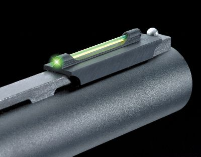 "Hunting Developed to meet the high performance demands of wing and clay shooters, this machined metal, fiber optic front sight sits close to the rib and features interchangeable green, red, yellow and orange fiber optics. Special mounting design allows for a tight and secure fit behind the front bead on the ventilated rib of your shotgun. These sights are size specific for certain manufacturers' vent ribs. Features 'SLIDE-LOK Mounting System that secures sight to vent rib shotgun without screws, tape or magnets. Available widths: 1/4"", 3/8"", 6mm and 5/16"". - $34.99"