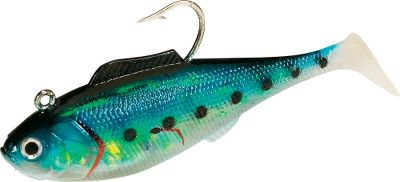 Fishing Work deeper water at higher speeds with this heavyweight baitfish imiation. Soft, boot tail offers irresistible action. Per 2 (9 per each).Sizes: 5, 3 oz.6.5, 4-1/4 oz.7, 3 oz.9, 6-1/4 oz.Colors: (004)Gold Bunker with spot, (008)Blue Back, (027)Limetreuse, (031)Pearl Spot. - $3.88