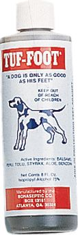 Hunting Tuf-Foot toughens a dog's soft, sore or tender feet. It's used as a conditioner or a treatment. It contains Balsams peru, tolu, styrax, aloe, benzoin, and isopropyl alcohol. Comes in an 8-oz. bottle. - $14.99
