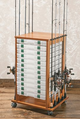 Fishing Keep your fishing rods and gear organized and proudly on display in this storage rack that comes with 24 made-to-fit storage boxes. Rack holds up to 16 rods and neatly accommodates 24 3700-series utility boxes. Rack has a hardwood veneer with a beautiful oak finish. Wheels allow turning access, transport between rooms and they can be locked securely in place. Rubber rod clips secure rods and adjust for perfect alignment. Type: Rod Racks. - $199.99