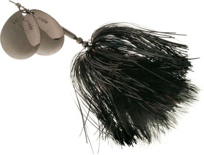 Fishing Entice that concealed muskie out of the weeds with this bucktail. Its sparkling, standout tinsel skirt and marabou-accented, No. 8 blades capture the attention of monster fish. Blades produce attention-getting pulsation and vibration. Sturdy construction, keel weight system and proven colors will make this a must-have for your muskie arsenal. Per each. Colors: (001)Black/Nickel, (002)Orange/Black/Pearl, (003)Firetiger/Orange/Pearl, (004)Gold/Brown/Gold, (005)Silver/Black/Red. - $9.88