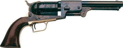 "The 2nd Model Dragoon incorporated squared cylinder bolts, separating itself from the 1st model's oval bolt slots. Six-shot, .44-caliber revolver with integrated loading cutouts for secure seating of percussion caps. Case-hardened frame, brass backstrap and trigger guard. One-piece walnut grip. Blued finish.Barrel length: 7-1/2"".Overall length: 13.4"".Weight: 4.1 lbs. - $349.99"