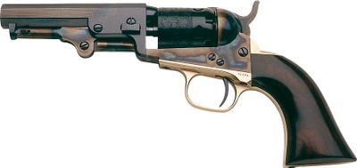 As part of its black-powder firearms designed for civilians, Colt introduced pocket revolvers, so named because they could easily fit into a coat pocket. The .31-caliber, five-shot revolver features seven-groove rifling, a case-hardened frame, brass backstrap and trigger guard. One-piece walnut grip. Blued finish. Barrel length: 4. Overall length: 9-12. Weight: 1-12 lbs. Color: Walnut. - $369.99