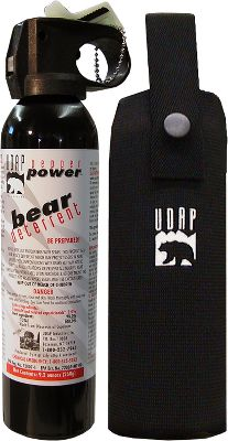 Hunting Stop an angry, charging bear with this amazingly effective deterrent. UDAP Magnum Bear Spray has been proven effective in dozens of bear attacks. During a bowhunt over a decade ago, Mark Matheny was attacked by a grizzly bear and suffered numerous bite lacerations in the head and neck. Marks wounds would have been much worse, if not fatal, had it not been for a burst from a pepper spray that ended the attack. Marks experience changed his life. Since then, he has dedicated himself to improving a product designed to safeguard people against maulings, and to help them better coexist with wildlife. The result is this spray, which consists of a super-hot, oil-based formula that instantly affects eye, nose and lung tissue to stop a charge. The high-volume 5.4-second fogging blast has a range of 30 feet and can be administered without removing the canister from the included chest holster. And its tested to 0 F. This formula is non-lethal, EPA registered and is legal to carry across the Canadian border. It also is equipped with a glow-in-the-dark safety cap for quick reference. A chest/hip holster is included. Spray canister is 9.2 ounces. - $54.99
