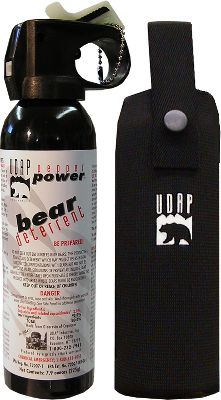 Hunting Stop an angry, charging bear with this amazingly effective deterrent. UDAP Bear Spray has been proven effective in dozens of bear attacks. During a bow-hunt over a decade ago, Mark Matheny was attacked by a grizzly bear and suffered numerous bite lacerations in the head and neck. Marks wounds would have been much worse, if not fatal, had it not been for a burst from a pepper spray that ended the attack. Marks experience changed his life. Since then, he has dedicated himself to improving a product designed to safeguard people against maulings, and to help them coexist with wildlife. The result is this spray, which consists of a super-hot, oil-based formula that instantly affects eye, nose and lung tissue to stop a charge. This formula is non-lethal, EPA registered, tested to 0 degrees Fahrenheit Legal to carry across the Canadian border. It also is equipped with glow-in-the-dark safety cap for quick reference. A hip holster is included. Spray canister is 7.9 ounces. Formulated and filled in the USA. - $39.99