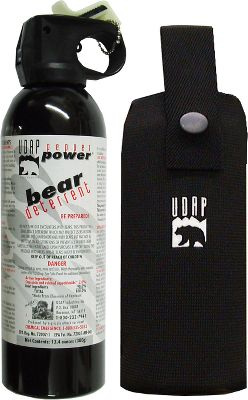 Hunting Feel more secure and capable of defending yourself. The Super Magnum Bear Spray is a 13.4-oz. canister of potent pepper spray that will deter any assailant. 35-ft. fog spray pattern. Highest amount of spray volume. Chest holster included. - $64.99