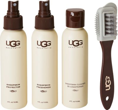 This all-in-one kit includes everything you need to clean and protect UGG Twinface sheepskin boots and slippers. Includes UGG Cleaner and Conditioner, Sheepskin Protector, freshener, brush and a scuff eraser. Recommended for use only on Twinface sheepskin boots and slippers in the Classic, Ultra and Ultimate collections. Color: White. Type: Sheepskin-Care Kit. - $19.99