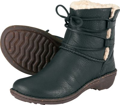 "The all-natural softness and warmth of UGG's popular slippers in casual go-anywhere boots. The 6"" uppers are crafted of rich Scotchgard -protected leather. Slit sides with matching leather lace closures make them easy to pull on and off. Supple, all-natural sheepskin linings surround feet and ankles in soothing warmth. Suede-covered Poron footbeds cushion and conform to feet. Molded, clear rubber and cork outsoles. Imported.Height: 6"".Women's whole sizes: 6-10 medium width.Color: Gravy. - $109.88"