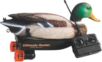 Hunting These remote-control decoys make it easy, and fun, add lifelike movement to your decoy spread. They deliver a natural swimming motion that simulates live waterfowl movement better than any other motion decoy. The motor and twin-propeller propulsion system give you the control to make the decoys swim forward and backward, and to make left and right turns utilizing an easy-to-use remote control unit. Range: 30 yards. Remote uses one 9-volt battery. Decoy uses six AA batteries. (Batteries not included). Available: Mallard Drake, Mallard Hen. - $74.88