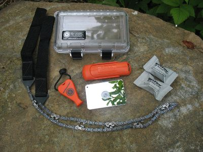 Camp and Hike All the survival tools you need in a crushproof and watertight case. Made in USA. Includes: BlastMatch fire starter - This one-handed tool generates intensely hot sparks with minimal effort. This fire-starting system is good for thousands of strikes. The sparks that it emits are three times hotter than a standard match. This innovative design features a spring-loaded rotating spark bar. WetFire pack of two tinder cubes that burns over 1,300 degrees. the best fire-starting material available in the world. It actually burns longer when its wet, yet cools instantly. StarFlash Ultra scratch-resistant signaling mirror SaberCut saw with bi-directional teeth Freezeproof JetScream high-decible whistle 6-1/2L x 3-3/8W x 1-5/8D hard Carry Case Weight: 16 oz. Carry case dimensions: 6-1/2L x 3-3/8W x 1-5/8D. Available: Black Case, Clear Case. Color: Clear. Type: Survival Kits. - $65.88