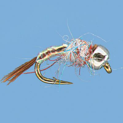 Flyfishing A flashy little nymph, this fly grabs the attention of trout with its tungsten bead and attractive body. Per 2. Sizes: 16, 18, 20. Color: Rainbow. Type: Wet Flies. - $4.29