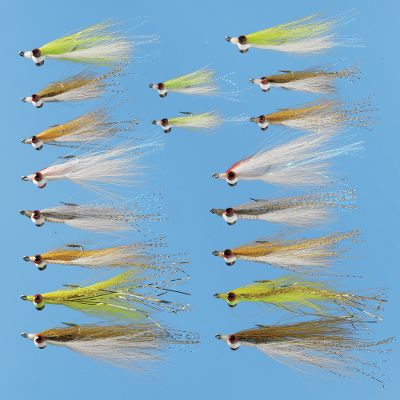Flyfishing A great collection of an effective streamer pattern in both fresh- and saltwater. Includes two each of Clouser Deep Minnows:Chartreuse/White (#2), Chartreuse/White (#6), Olive/White (#2), Olive/White (#6), Red/White (#2) and chartreuse/Yellow (#2). Also two pairs of Golden Shiners #2 and #6, and a Gray/White Silver Shiner (#2).Available: Assortment only Assortment with Box Type: Fly Assortments. Description Assortment. - $23.99