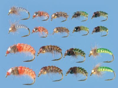 Flyfishing Perfectly sized and selected for using tournament-proven European nymph fishing tactics. Includes:Polish Nymph Cream - 2 Polish Nymph Brown/Orange - 2 Polish Nymph Green/Orange - 2 Polsh Nymph Chartreuse - 2 Bottom Roller Psycho Rhyco - 4 Bottom Roller Hydrop - 2 Bottom Roller Hare's Ear - 2 Bottom Roller Deep Sherbert - 2 Czech Nymph Leader(8.5 ft 4X) - 1 Type: Nymphs. Description Assortment. - $25.99