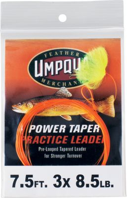 Flyfishing Umpquas Power Taper Practice Leaders bright, neon color offers a highly visual image of your entire cast from rod to line to leader to fly. Using a practice leader is ideal for fishermen wanting to improve their casts, whether theyre practicing over water or grass. Its also perfect for casting classes. Curve casts, reach casts, s-curves now you can really see the path your line is casting and perfect it. Length: 7.5 feet. Weight: 8.5 lb. Size: 3X. - $0.88