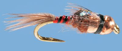 Flyfishing Excellent as an attractor in stream fishing, this fly features a double-tungsten bead head that allows it to sink nice and deep when you want it to. Colorful, reflective body. Per 2. Sizes: 14, 16, 18. Colors: Olive, Red. Color: Olive. Type: Nymphs. - $5.79