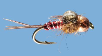Flyfishing With its flashy body and bright colors, this fly features a copper bead head that helps it sink and work the bottom. Per 2. Sizes: 14, 16, 18. Colors: Olive (not shown), Ruby. Color: Copper. - $4.99