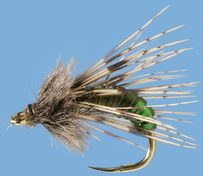 Flyfishing Designed to mimic an emerging caddis as it swims from the river bottom to the surface. A small amount of Flashabou on the back adds additional eye appeal. Per 2. Sizes: 14, 16, 18. Color: Olive. Color: Olive. Type: Nymphs. - $3.99