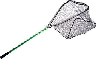 Fishing Single-swing rubberized landing net has a wide net facing that opens and locks with a flip of the wrist. Easy to use with one hand. Folds for compact storage. Folded dimensions: 36L x 4W x 2H.Extended length: 62. Hoop size: 26W x 26H. Type: Landing Nets. - $39.99