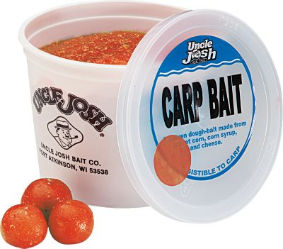 Fishing Give carp the sweet taste they can't resist with Uncle Josh's doughball bait. Brilliantly colored bait with an irresistible taste carp key on and find quickly. Made from corn and corn syrup. Resealable 10-oz. plastic container. Color/Scent: (001)Orange/Vanilla, (002)Red/Strawberry. Color: Orange. Type: Carp Bait. - $2.99