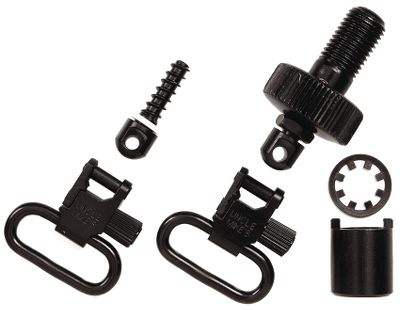 Uncle Mike's black sling kit for Mossberg 500, allows you to simply install stud in butt stock, replace magazine cap with new adapter cap, and attach sling with quick detachable swivels provided. The 1 sling adapter comes with sling swivel and stud for the buttstock an replacement magazine cap with swivel. Available: Sling Kit and 1 Sling Adapter. Color: Black. - $22.99