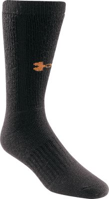 Fitness Under Armour ColdGear Outdoor Boot Socks are made of 41% olefin, 41% wool, 17% nylon, and 1% Lycra spandex for high performance in cold conditions. Fully cushioned footbed absorbs shock, while a fully reciprocated heel and toe with a flat toe seam provides a great fit and flawless performance in any weather. Per pair. Made in USA. Mens sizes: M-XL. Colors: Black, Olive. Size: M. Color: Black. Gender: Male. Age Group: Adult. Material: Spandex. Type: Socks. - $13.99