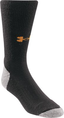 Fitness Under Armour Mens ColdGear Lite Boot Socks are made of 40% olefin, 40% wool, 18% nylon and 2% Lycra spandex for high performance in cold conditions. Fully cushioned footbed absorbs shock, while a fully reciprocated heel and toe with a flat toe seam provides a great fit and flawless performance in any weather. Per pair. Made in USA. Mens sizes: M-XL. Color: Black. Size: LARGE. Color: Black. Gender: Male. Age Group: Adult. Material: Spandex. - $11.99