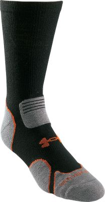 Camp and Hike Punishing trails ahead?Hunt and hike without a hitch in these performance socks. This light version is ideal for warm-weather outings. A combination of moisture-wicking yarns and ventilated mesh panels keep your feet dry. Strategically placed cushioning absorbs shock. Knitted arch reinforcements increase blood circulation and ensure a snug fit. Flex zones and seamless toes prevent bunching for increased comfort. Slip-resistant, deep heel pockets. Made of a technical blend of 55% acrylic, 30% merino wool, 13% Nylour and 2% spandex. Per pair. Imported. Mens sizes: M(4-8), L(9-12). Color: Black. Size: One Size. Color: Black. Gender: Male. Age Group: Adult. Material: Acrylic. Type: Socks. - $15.99