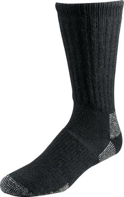 Fitness Under Armour employs an abundance of technologies in these heavyweight scent-control socks. Capture Scent Technology uses a polymer shield to adsorb human odors, filtering them before they can be detected. The burst-shaped polymer adheres to the fabric while body-odor molecules adhere to the polymer. ArmourBlock silver fibers add another layer of defense by preventing the growth of odor-causing bacteria. Signature moisture transport wicks away moisture and accelerates evaporation. Four-way Armour Stretch ensures a custom fit. Full cushioning and space compensation frees up room inside boots. Noncushion vamp acts as a key flex zone, preventing sock bunching. Heavyweight merino wool and acrylic insulate and retain warmth. Embroidered UA logo. 60% acrylic/20% merino wool/10% polyester/6% nylon/2% silver/2% spandex. Imported. Mens' sizes: M, L. Colors: Black, Hearthstone. Type: Socks. Color: Black. Size Medium. Color Black. - $13.88