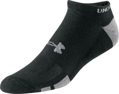 Fitness A six-pack of no-show athletic socks that deliver legendary Under Armour performance. A unique fiber blend simultaneously provides better traction inside shoes, while UAs Signature Moisture Transport system wicks moisture away from feet for a more comfortable fit. Strategic cushioning results in optimal shock absorption and protection. Contoured Y heels enhance both comfort and fit. ArmourBlock technology neutralizes odor-causing microbes. Machine washable. Imported. Size: Large. Colors: Black, White. Size: One Size. Color: Black. Gender: Male. Age Group: Adult. Type: Athletic Socks. - $19.99