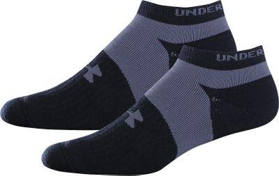 Fitness Performance-driven, no-show running socks with HeatGear moisture-transporting technology to keep feet dry and comfortable. Full cushioning delivers maximum protection from friction. ArmourFit elevated support for a secure fit. Seamless toes. ArmourBlock antimicrobial treatment prevents the growth of odor-causing bacteria. Two pair. Imported. Mens size: Large.Colors: Black/Gray, White/Gray. - $7.88