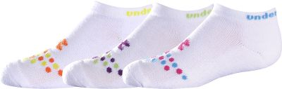 Fitness Under Armour Charged Cotton No-Show Socks combine the comfort of cotton with the enhanced durability and moisture-wicking performance youd expect from Under Armour. The fiber blend is three times more durable than the competition. Signature moisture transport wicks moisture and accelerates evaporation to keep feet dry. Strategic cushioning protects high-impact areas of your feet during heel strike and toe-off. ArmourBlock helps prevent the growth of odor-causing bacteria. Embedded arch support. Made of 69% cotton/26% polyester/3% nylon/2% spandex. Six pairs per pack. Imported. Kids size: L(1-4). Color: Neon. Size: One Size. Color: Neon. Gender: Female. Age Group: Kids. Material: Cotton. Type: Athletic Socks. - $17.99