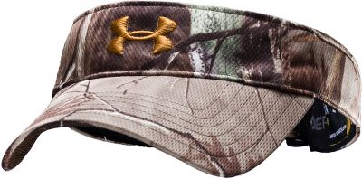 Hunting A moisture-wicking HeatGear sweatband and quick-drying, 100% polyester construction offer premium outdoor performance and hot-weather comfort. Adjustable back closure. One size fits most. Imported. Camo patterns: Mossy Oak Treestand, Realtree XTRA. Size: One Size. Color: Realtree Xtra. Gender: Male. Age Group: Adult. Pattern: Camo. Material: Polyester. Type: Visors. - $24.99