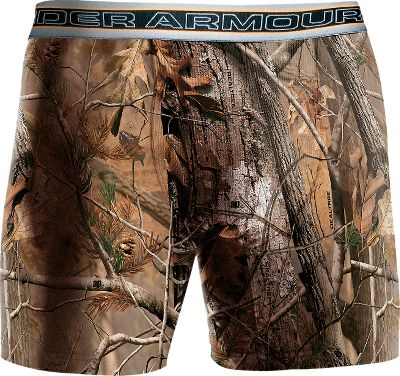 "Hunting Lightweight HeatGear four-way stretch fabric moves moisture away from your skin to keep you dry and comfortable. Performance waistband moves with you. Antimicrobial odor-reducing technology. 49% polyester/43% nylon/8% elastane. Imported. Inseam: 6"". Sizes: S-3XL.Camo patterns: Realtree AP, Mossy Oak Break-Up Infinity. - $14.88"