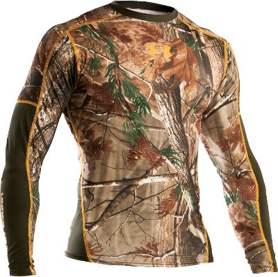 Hunting HeatGear is engineered to keep you cool and dry in warm conditions. It delivers uninhibited range of motion and wicks perspiration away from your skin. Wear it as a base layer in warm weather or on its own in the heat youll stay cooler, drier and more energized as you enjoy its skin-pleasing feel. Features 100% polyester fabric to enhance its already soft feel and improve its comfort as a base layer. Machine washable. Imported. Sizes: S-3XL.Camo patterns: Realtree AP, Mossy Oak Break-Up Infinity. - $21.88
