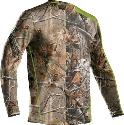 Hunting Enhanced by UA Mens Scent-Control technology, the super-soft Under Armour Evolution Scent-Control Crew brings outstanding warmth, undeniable comfort and the advantage of scent control to your hunt. Constructed of breathable, four-way-stretch ColdGear fabric, this bulk-free layer actively transports moisture away from skin for dry comfort. Ergonomic seam placements add even more comfort. Compression-fitted for against-the-skin wear. Imported. Sizes: S-3XL. Camo patterns/Color: Realtree AP, Realtree XTRA/Velocity, Mossy Oak Break-Up Infinity/Velocity. Size: SMALL. Color: Xtra/Velocity. Gender: Male. Age Group: Adult. Type: Base Layer Tops. - $32.88