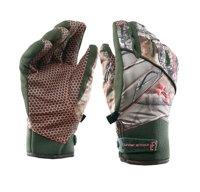 Hunting Waterproof, yet breathable gloves with brushed tricot linings are soft and warm. Stretch shells and extra flex fabric on the fingers increase dexterity. Durable synthetic suede palms with a silicone hex print offer a firm grip. Neoprene wrist cuffs with adjustable closures give a secure, custom fit. Padded knuckles add extra protection. Imported. Sizes: S-XL.Camo pattern: Realtree AP. - $37.88