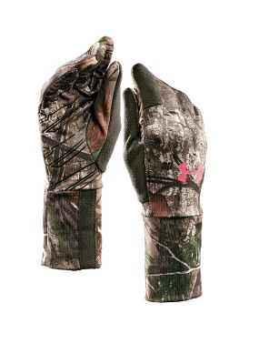 Hunting AllSeasonGear 87/13 polyester/elastane Under Armour Womens Scent-Control Liner Gloves are great alone or ideal liners under thicker gloves. Scent control reduces odor-causing microbes. Silicone palms. Low-profile fleece thumbs and index fingers. Imported. Sizes: S-XL. Camo patterns: Realtree AP, Realtree XTRA. Size: Large. Color: Realtree Xtra. Gender: Female. Age Group: Adult. - $23.88
