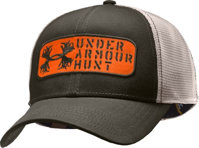 Hunting Get in the hunt with this Under Armour Hunt cap. HeatGear sweatband wicks moisture and dries quickly. Mesh back for breathability. Embroidered Under Armour Hunt logo. Adjustable fit. 97/3 cotton twill/spandex. One size fits most. Imported. Colors: Cadet Blue, Crimson, Rifle Green, Battleship. - $19.99