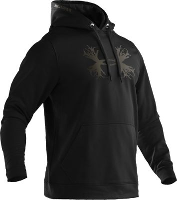 Hunting Antlered Under Armour logo exhibits pure hunting attitude. Durable smooth-face fleece exterior and soft velour fleece interior work together for quick-dry moisture management and warmth. Front handwarmer pocket. Drawstring hood. 100% polyester fleece. Imported. Sizes: S-3XL. Colors: True Grey Heather, Black, Rifle Green/Dynamite (not shown). Size: Large. Color: Rifle Green/Dynamite. Gender: Male. Age Group: Adult. Pattern: Solid. Material: Polyester. - $49.88