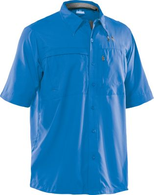 Fitness Youll appreciate the quick-drying 100% polyester fabric of this Under Armour Mens Flats Guide II Short Sleeve-Shirt the next time you visit the shoreline, get caught in a summer shower or work up a sweat on a hot day. With a UPF rating of 30, youll be protected from the harmful effects of the sun. Antimicrobial treatment fights odors so the only thing youll be able to smell is victory. Moisture is transported away from the skin so you can maintain a comfortable core temperature. Chest and back vents for maximum breathability. Two chest storage pockets. Machine washable. Imported. Sizes: S-2XL. Color: Carolina Blue. Size: Medium. Color: Carolinablu/Lt Graph. Gender: Male. Age Group: Adult. Material: Polyester. Type: Short-Sleeve Shirts. - $29.88