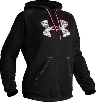 Hunting This Under Armour hoodie sweatshirt has all the cool-weather versatility of the classic hoodie with the performance youve come to expect from Under Armour gear. The exclusive ColdGear fabric sports a soft, plush warmth-trapping layer on the inside and a smooth, quick-drying exterior. Plus, the Signature Moisture Transport System wicks away moisture to keep you warm and dry even when youre pushing yourself at peak performance levels. Anti-odor technology prevents the growth of odor-causing bacteria to keep it fresh all day long. Deep handwarmer pockets in this Under Armour hooded sweatshirt is a plus. Large UA logo. 100% polyester. Imported.Sizes: XS-2XL.Colors: Black/Perfection, Bureau/Pink Realtree, Jewel/Seaport, Perfection/White, Rifle/Pink Realtree, Sugar Plum/Cyclone, White/Perfection, Black. - $49.88