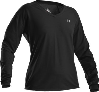Fitness UA Tech tees offer superior moisture-wicking performance with the softness and smooth-to-the-touch feel of cotton. Made of quick-drying, 100% polyester HeatGear with anti-odor technology for lightweight, high-activity comfort. UPF rating of 50. Raglan sleeves for increased freedom of movement. Feminine cut with a stylish crossover V-neck. Loose fit. Imported. Sizes: S-XL. Colors: Black, Deep Sea, Honeysuckle, True Gray Heather. Size: M. Color: True Gray Heather. Gender: Female. Age Group: Adult. Material: Polyester. Type: Long-Sleeve Tee Shirts. - $13.88