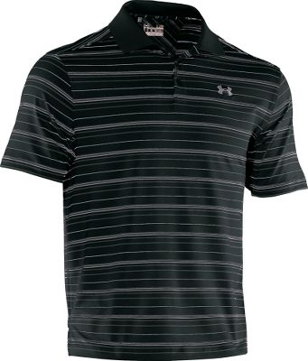 Fitness Crafted of 88/12 polyester/elastane, this soft, smooth, four-way-stretch polo delivers the lightweight comfort and classic style your active lifestyle deserves. UAs moisture-transport system wicks moisture away from skin during high activity. ArmourBlock technology keeps you fresh by neutralizing the growth of odor-causing microbes. This wrinkle-resistant fabric even boasts a UPF rating of 30+ for carefree time in the sun. Ribbed collar and a durable three-button placket. Imported. Sizes: S-3XL.Colors: Black, White, Empire Blue, Crimson. Type: Polos. Size: Medium. Color: Black. Size Medium. Color Black. - $29.88