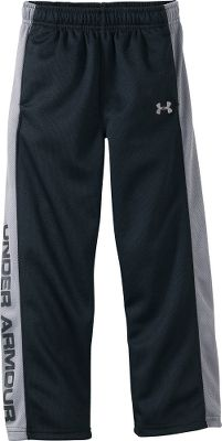 Fitness Comfy, breathable pants for your active youngster. Smooth, knit tricot polyester mesh feels great on skin and is easy to put on and take off. Under Armour graphics on the legs. Drawcord provides a secure fit. Imported.Sizes: 4-7.Color: Black. - $17.99