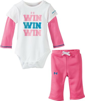 Fitness Its never too early to start with team spirit! This adorable long-sleeve shirt has the appearance of two layered shirts but is a single top. Comes with complementary pants. Soft, 100% jersey-knit cotton. Imported.Sizes: 12 mo., 18 mo., 24 mo.Color: White. - $24.99