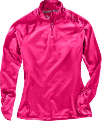 Fitness Sporty styling and an athletic fit matched with the cold-weather comfort of ColdGear fabric. Scalloped detailing at cuff. Rouching on sides of neck. 87/13 polyester/elastane. Imported.Body length for size Medium: 26.Sizes: XS-XL.Color: Cerise. - $29.99